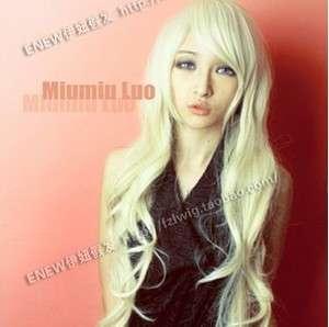 New Fashion long Platinum Blonde Coaplay Wavy Wig + wig cap
