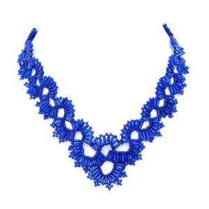 BLUE VICTORIA CROWN BEADED NECKLACE FASHION JEWELRY