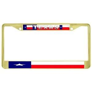 Texas State Flag Gold Tone Metal License Plate Frame