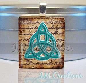 SCRABBLE TILE PENDANT Triquetra Knot Celtic Symbol