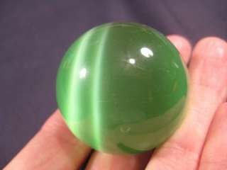 Green Cats Eye stone crystal ball rock mineral art Thailand carving