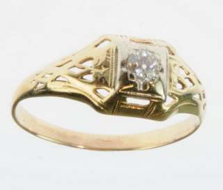 LADIES ANTIQUE DIAMOND 14K YELLOW GOLD ESTATE RING 77250