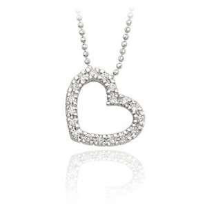 14K White Gold Pave Diamond Heart Necklace Jewelry