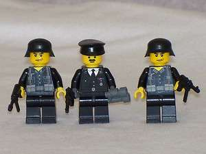 Minifig WW2 Black Uniform German Soldiers set with Weapons