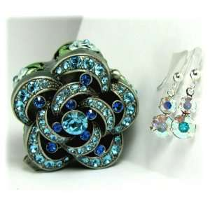 Swarovski Crystal Drop Earrings in a Blue, Rose Flower Box