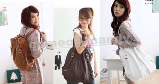 HOT Korean Style Fashion lady 2 Ways PU Leather Backpack Purse Handbag