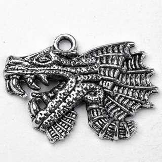 Pc Tibetan Silver Dragon Head Charm Pendants Findings