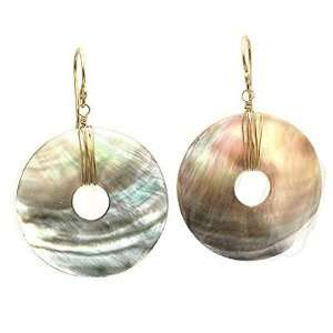 Sterling Silver Earrings Light weight mother of pearl disks Jewelry
