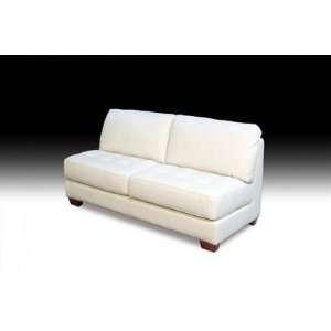 com Diamond Sofa Zen Collection Armless, All Leather Tufted Seat Sofa