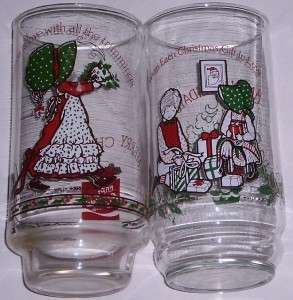 VTG 1980 HOLLY HOBBIE GLASSES   SET OF 2 / COCA COLA