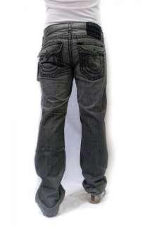 NWT TRUE RELIGION Mens Jeans Ricky Black Super T Stitch Grey