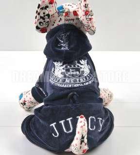 Dog Dark Blue Hoodie Velour Jacket Coat Jumpsuit XS S M L XL