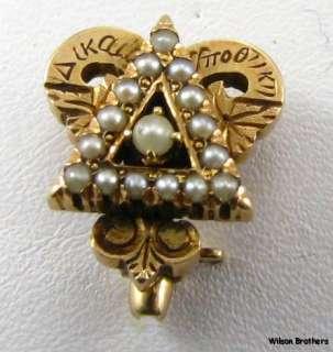 1911 Delta Upsilon Fraternity Genuine Pearls  14k Yellow Gold Vintage