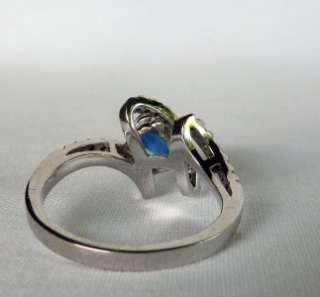 GOLD 1.38 CT SAPPHIRE+PAVE DIAMOND BYPASS RING~SUPERB QUALITY