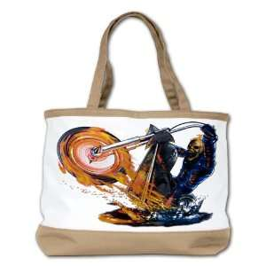 Shoulder Bag Purse (2 Sided) Tan Flaming Skeleton Skull Riding Flaming