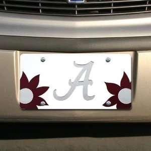 Alabama Crimson Tide White Mirrored Flower Power License