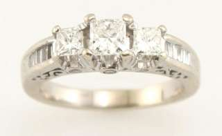 14k White Gold .70ct Princess Cut Diamond Three Stone Engagement Ring