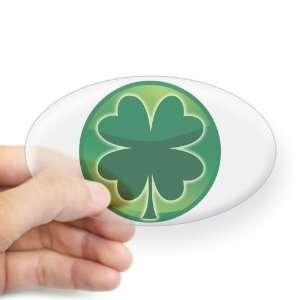 Sticker Clear (Oval) Shamrock Four Leaf Clover
