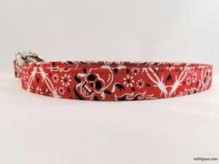 Red Bandanna with Skulls & Cross Bones Dog Collar Leash
