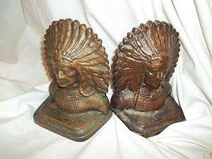 Antique Cast Iron chief Book ends