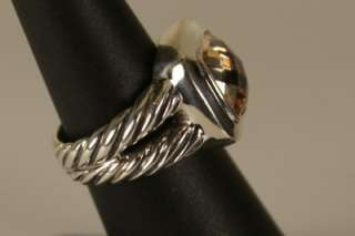 David Yurman 925 Sterling Silver Champagne Citrine & Diamonds Ring