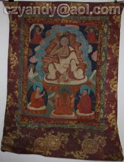 Wonderful Old Tibetan Buddhist Hand Painted Thangka Milarepa
