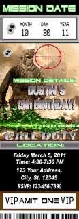 CALL OF DUTY MODERN WARFARE 2 BLACK OPS BIRTHDAY PARTY INVITATIONS