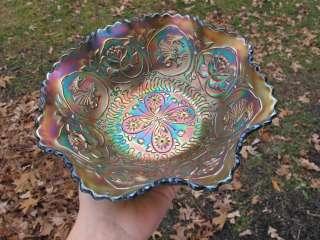 Antique DRAGON & LOTUS FENTON Carnival Glass Bowl GREEN IRIDESCENT