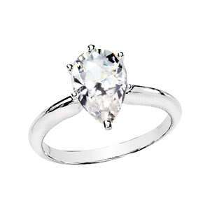 Ct Pear Cut Moissanite Engagement Ring   14K White Gold