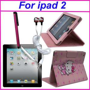 Hello Kitty leather case cover with stand for iPad2 Pink 4 accessory