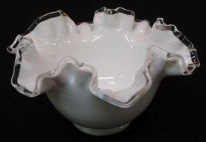 Fenton Silver Crest Rose Bowl. White with ruffled edge.
