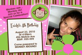 Mod Monkey Photo Personalized Birthday Invitation