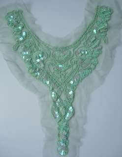 Sequined Beaded Applique Y Necklace Collar L.Green Dancewaer Skating