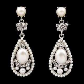 Bridal Wedding Crystal Rhinestone Pearl Teardrop Dangle Earrings