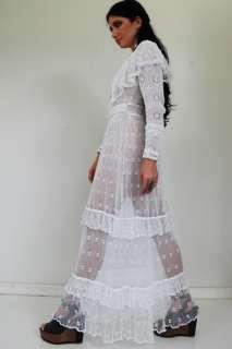 White CROCHET Lace WEDDING Festival SHEER Boho HIPPIE Maxi DRESS XS/S