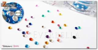 18 colors Flat Back 2mm RhineStone for Nail Art Decals w/ FREE GLUE