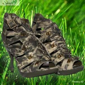 Sandals Platform Stilettos High Heel Bridal Army Green Shoes