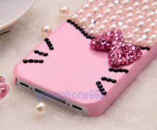 Pink White Bling Hello Kitty Pearl Rhinestone 3D Bow Case Cover for