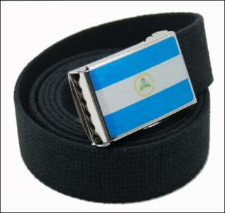 CUSTOM MADE NICARAGUA FLAG CANVAS WEB BELT & BUCKLE
