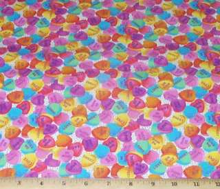 Hearts Valentine Candy David Fat Quarter Fabric