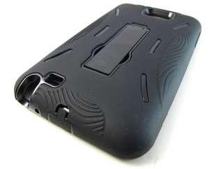 BLACK IMPACT HARD CASE COVER KICKSTAND SAMSUNG GALAXY NOTE i717 PHONE