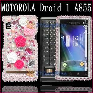 Bling Pink Rose Hard Case Cover For Motorola Droid A855