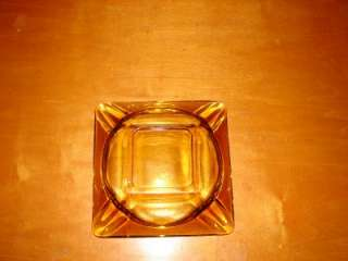 Old Square Amber Yellow Clear Glass Ashtray 5 3/4