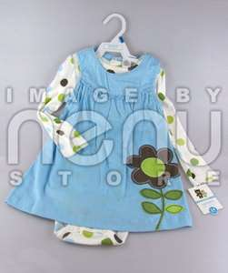NEW BABY CARTERS Girl Dress 2 Piece NWT Size 24M Months Blue White