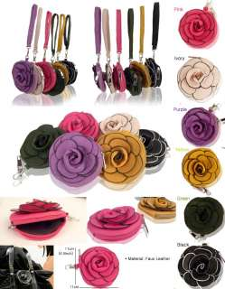 Faux Leather Coin/Change Purse,Flower shaped,with Strap 6colors