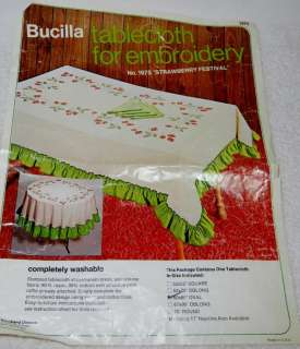 Vintage Bucilla Tablecloth 1975 Strawberry Festival Oval Stamped Cross