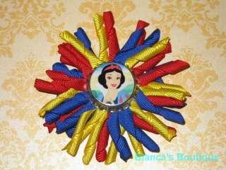NEW SNOW WHITE Girls Korker Ribbon Hairbow Bow Clip Clippie Disney