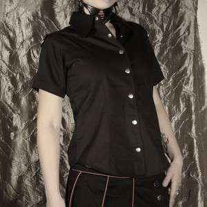 Damenbluse, Gothic Hemd Army schwarz