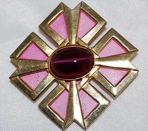 Accessocraft Pink Enamel & Cabochon Maltese Cross Pin