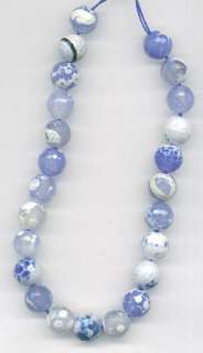 Sky Blue White Fire Agate Faceted Round Beads 8mm
